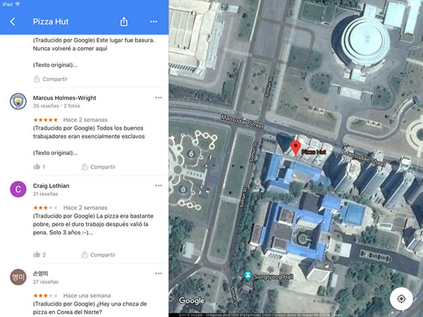 Marketing de Resquicios, Pizza Hut Corea del Norte Google Maps