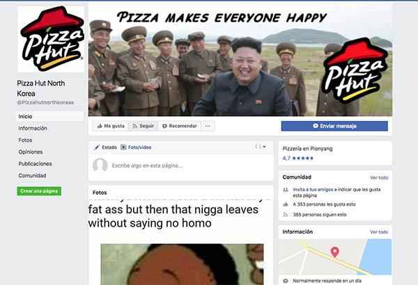 Marketing de Resquicios, Facebook Pizza Hut Corea del Norte