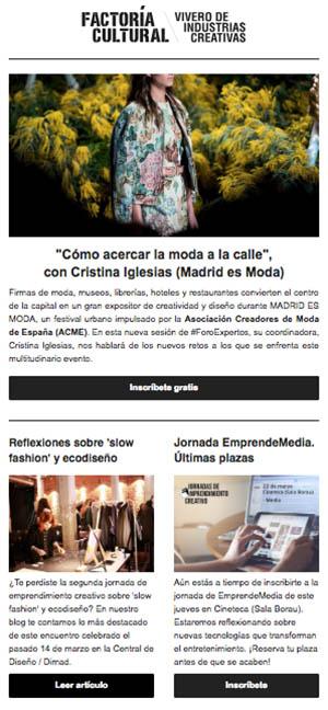 Newsletter Factoría Cultural Madrid