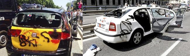 taxis atacados en la huelga