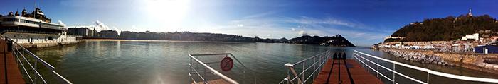 panorámica de San Sebastián playa de la concha y puerto